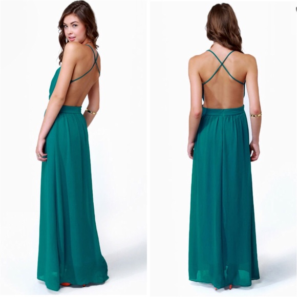 2204a9aa22f Lulu s NWT - Rooftop Garden Backless Teal Dress